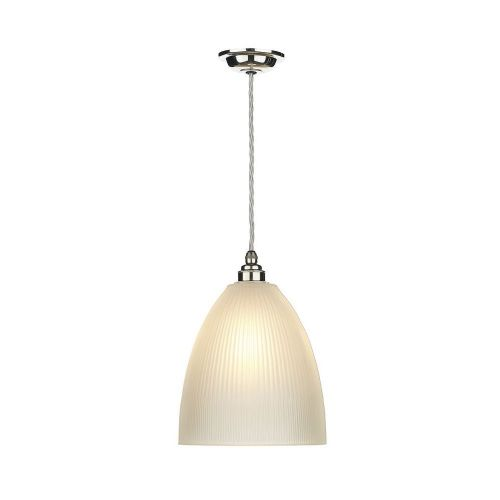 Duxford Glass Pendant Nickel Chrome complete with Satin Glass, DUX0150 (7-10 day Delivery)